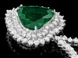 18k Gold 7.80Ct Emerald 11.50Ct Diamond Pendant