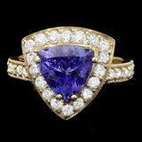 14k Gold 3.00ct Tanzanite 1.10ct Diamond Ring