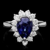 14k Gold 2.50ct Sapphire 0.80ct Diamond Ring