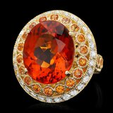 14k Gold 10.00ct Citrine 1.00ct Diamond Ring