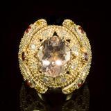 14K Gold 4.62ct Morganite, 1.40ct Orange Sapphire 1.55ct Diamond Ring