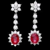 14k Gold 4.00ct Ruby 2.50ct Diamond Earrings