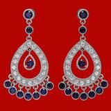 14k Gold 2.94ct Sapphire 1.34ct Diamond Earrings