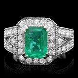 14k White Gold 2.00ct Emerald 1.30ct Diamond Ring