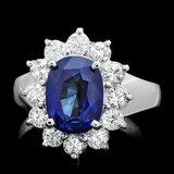 14k Gold 4.00ct Sapphire 1.00ct Diamond Ring
