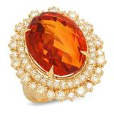 14K Gold 17.24ct Citrine 2.20cts Diamond Ring