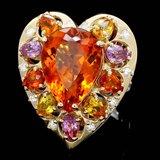 14k Gold 12ct Citrine 0.40ct Diamond Ring