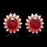 14k Gold 17.65ct Ruby 0.80ct Diamond Earrings
