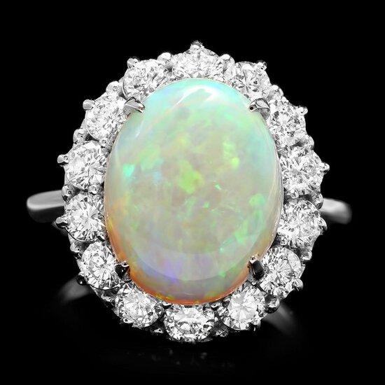 14k White Gold 4.50ct Opal 1.40ct Diamond Ring
