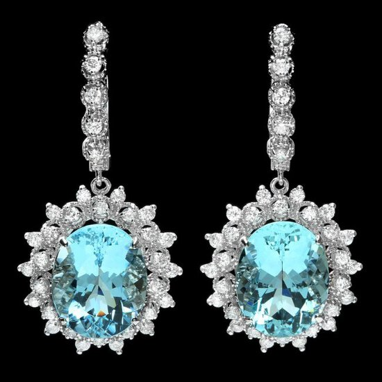 14k Gold 13ct Aquamarine 1.50ct Diamond Earrings