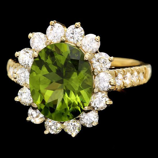 14k Gold 3.50ct Peridot 1.30ct Diamond Ring