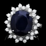 14k Gold 6.50ct Sapphire 0.85ct Diamond Ring