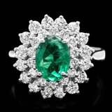14k White Gold 1.50ct Emerald 1.40ct Diamond Ring