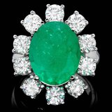 18k White Gold 8.00ct Emerald 3.35ct Diamond Ring