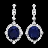 14k Gold 21ct Sapphire 1.90ct Diamond Earrings