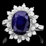 14k Gold 3.70ct Sapphire 0.70ct Diamond Ring