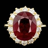 14k Yellow Gold 12.00ct Ruby 1.45ct Diamond Ring