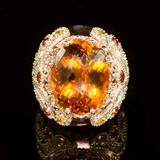 14K Gold 18.02ct Citrine, 1.40ct Orange Sapphire 1.25ct Diamond Ring
