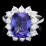 14k Gold 5.00ct Tanzanite 1.20ct Diamond Ring