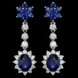 14k Gold 4.5ct Sapphire 1.40ct Diamond Earrings