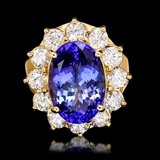 14k Gold 7.40ct Tanzanite 2.20ct Diamond Ring
