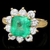 18k Gold 2.60ct Emerald 1.50ct Diamond Ring