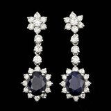 14k Gold 4.50ct Sapphire 2.35ct Diamond Earrings