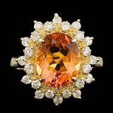 14k Gold 3.00ct Citrine 0.67ct Diamond Ring
