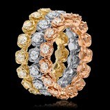 14K Yellow, White & Rose Gold 3.35cts. Diamond Ring