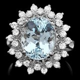 14k Gold 4.92ct Aquamarine 0.79ct Diamond Ring