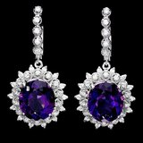 14k Gold 14ct Amethyst 1.55ct Diamond Earrings