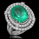 14K Gold 8.93ct Emerald 2.31ct Diamond Ring