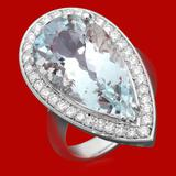 14k Gold 15.42ct Aquamarine 0.92ct Diamond Ring