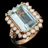 14K Gold 7.55ct Aquamarine 1.51ct Diamond Ring