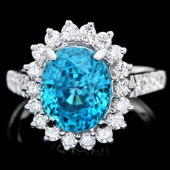 14k White Gold 6.00ct Zircon 0.85ct Diamond Ring