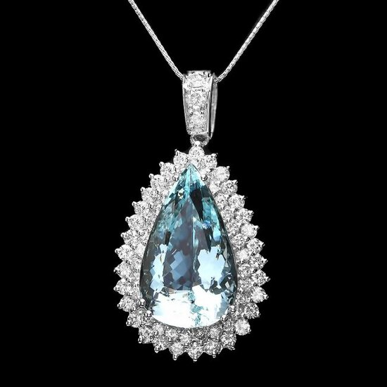 14k Gold 25ct Aquamarine 3.50ct Diamond Pendant