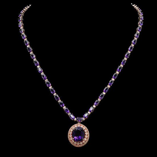 14K Gold 30.08ct Amethyst & 2.60ct Diamond Necklace