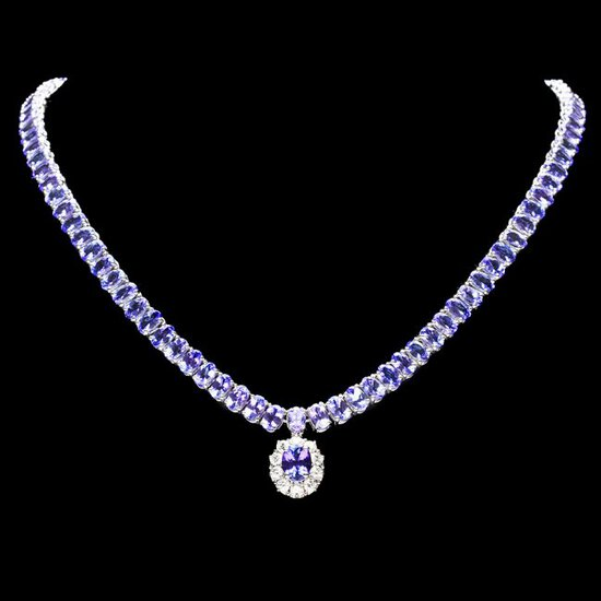 14k W Gold 29ct Tanzanite 1.35ct Diamond Necklace