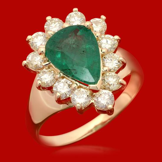 14k Gold 1.91ct Emerald 1.20ct Diamond Ring