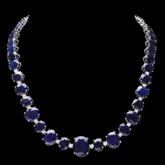 14k W Gold 164ct Sapphire 1.85ct Diamond Necklace