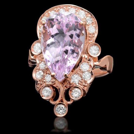 14k Rose Gold 8.50ct Kunzite 0.75ct Diamond Ring