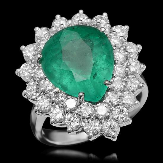 14K Gold 5.97ct Emerald & 2.40ct Diamond Ring