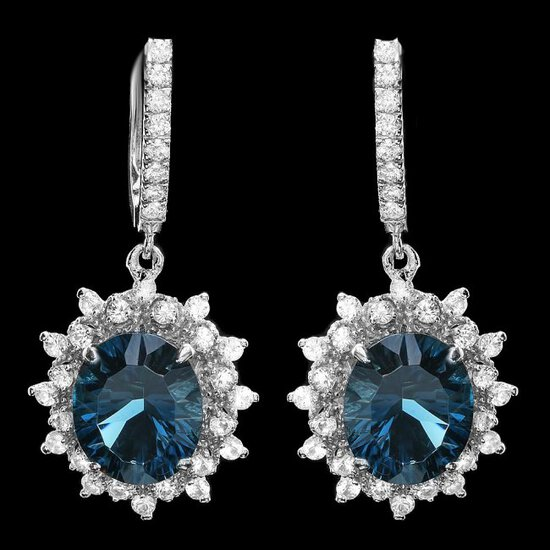 14k Gold 12.00ct Topaz 1.90ct Diamond Earrings