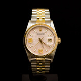 Rolex Two-Tone Datejust 36mm Custom Pink Dial, Diamonds on 9th & 6th Hour Men's Wristwatch