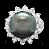 14k White Gold 13mm Pearl 1.55ct Diamond Ring