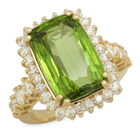 14K Gold 10.28ct Peridot 1.65ct Diamond Ring