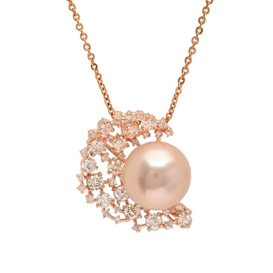 14K Rose Gold, 15mm South Sea Pearl, 2.23cts. Diamond  Brooch