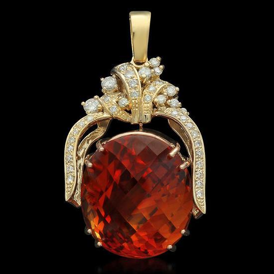 14K Gold 47.70ct Citrine 1.10ct Diamond Pendant
