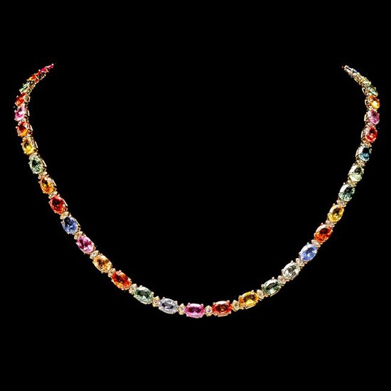 14k Gold 40ct Sapphire 1.6ct Diamond Necklace
