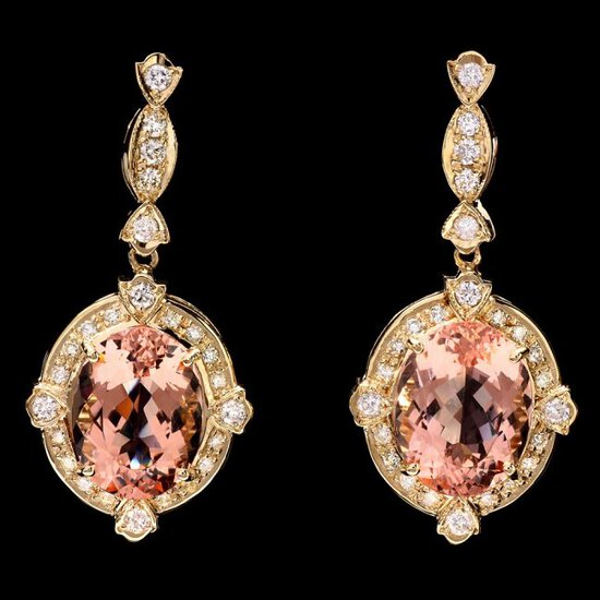14k Y Gold 15ct Morganite 1.45ct Diamond Earrings